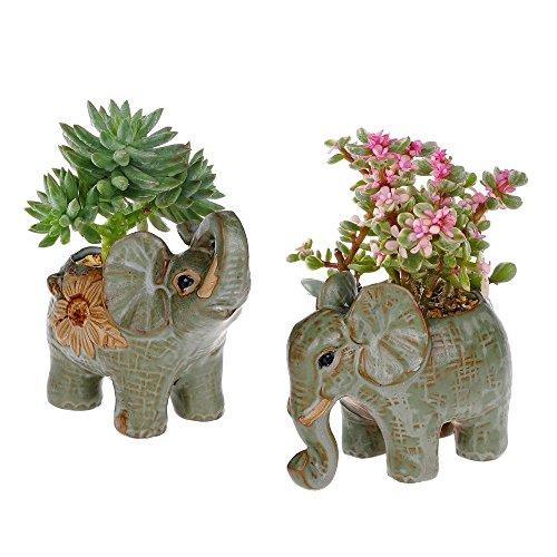 2 Pack Elephant Shaped Succulents Plants Pot Retro Glaze Ceramic Flower Pot Garden Yard Flower Succulent Bonsai Bed Trough Plant DIY Pot home desktop decoration