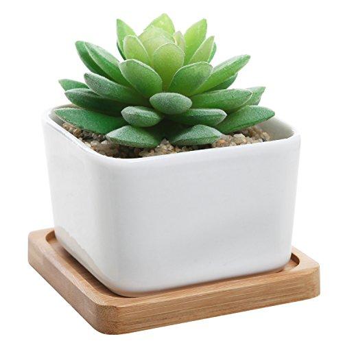 Modern Decorative Small White Square Ceramic Succulent Plant Pot W Bamboo Draining Tray - Mygift