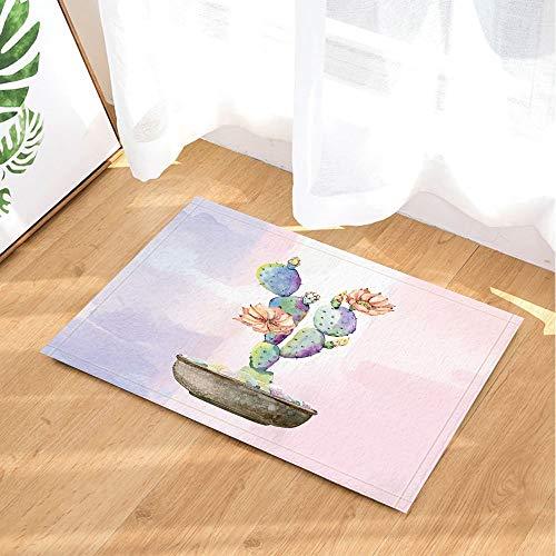 Cactus Decor Bath Rugs by CdHBH Cacti Bloom in Flowerpot Art Printing Non-Slip Doormat Floor Entryways Indoor Front Door Mat Bathroom Rugs Memory Foam Kids Bath Mat 157x2337in