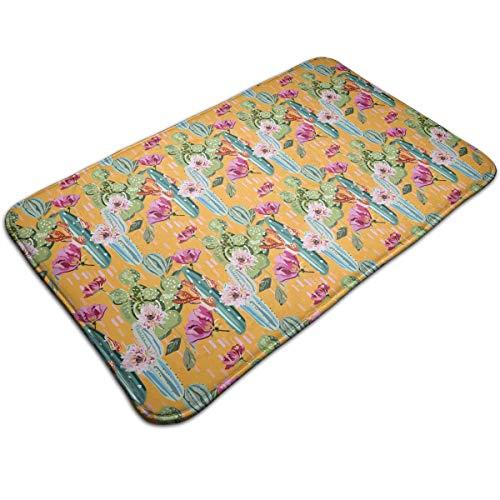 EWFXZq Cartoon Cactus Blooms Beautifully Doormat Anti-Slip House Garden Gate Carpet Door Mat Floor Pads 195315 Inch