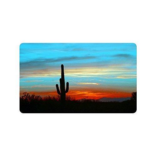Hopess Desert Cactus Cacti Trees Blue Art Pattern Durable Fabric top IndoorOutdoor Doormats L236X157W