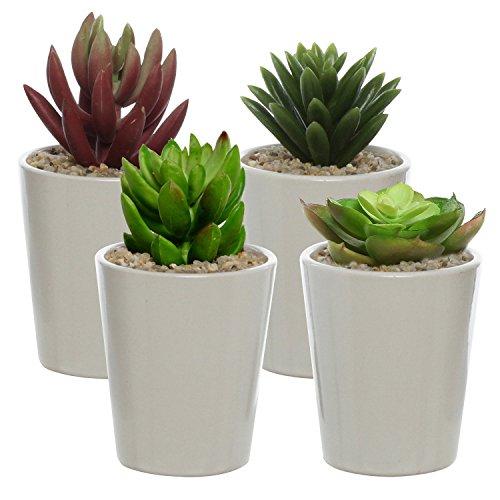 Set of 4 Ceramic Minimalist Design Mini Plant Pots  Windowsil Small Succulent Planters Off White