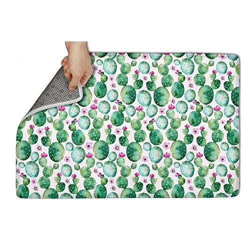 WENZI9DU Indoor and Outdoor Cactus Plants and Purple Flowers Door Mat Absorbent Style Door Mats 31x19 Inch Floormat