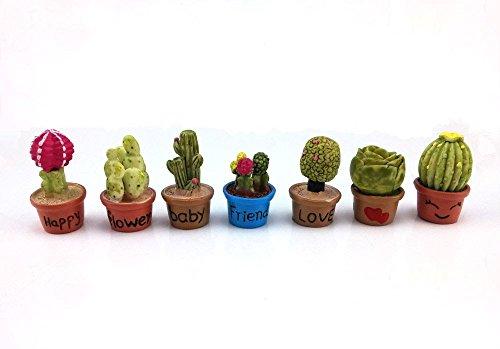 yueton 7pcs Cactus Flower Pot Plant Miniature Ornament Set for Dollhouse Decor Fairy Garden