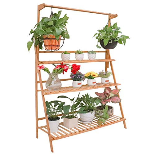 Bamboo Hanging Plant Stand 3 Tier Ladder Flower Rack for Garden Hanging Baskets Succulent Planters 100x40x96cm