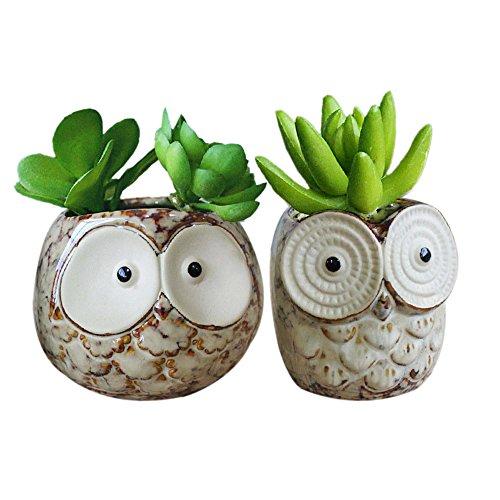 Gelive Set Of 2 Owl Planter Flower Pot Succulent Planter Container Decorative Vase Garden Cart Window Box Pen