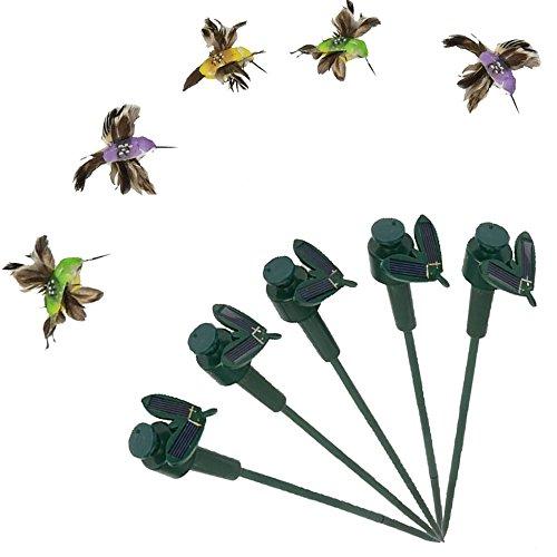Saguaro Pack Of 5 Solar  Battery Powered Flying Wobble Fluttering Hummingbird Bird For Garden Yard Plants Flowers