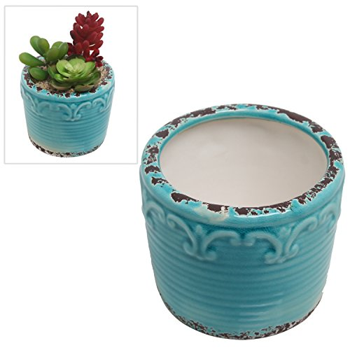 Hand Painted Turquoise Antique Style Fleur De Lis Ceramic Planter  Mini Succulent Plant Pot - Mygift&reg