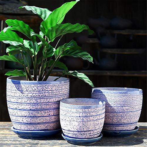 3 Piece Set Purple Stripe Green Plant Container Ceramic Flower Pot Flowing Glaze Succulent Potted PlantCactus Plant Potted Flower PotContainerFlower Pot Packaging 1 Pack 3