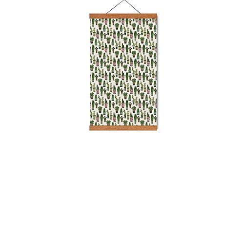 Hitecera Cactus Decor Retro Magnetic Hanging PosterColorful Pretty Succulent Houseplants and Cactus Pattern Doodle Flowers Pots Decorative for Hallway16W x 25H