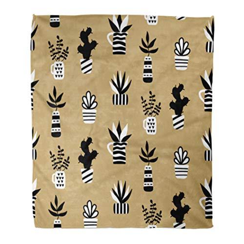 Semtomn 50 x 60 Super Soft Throw Blanket Succulents and Houseplants in Vase on Gold Modern Scandinavian Home Decorative Flannel Velvet Plush Blanket