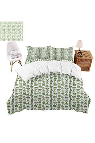vroselv-home Christmas Bedding 4 Piece Duvet Cover Succulent Houseplants Bedding Set Cute Quilt Cover for GirlsBoys Gift - Queen SizeNO Comforter