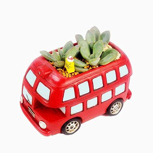 Letoor Flower Plant Pots Artificial Double-decker Bus Succulent Planter Container Holder Suitable For Officehome