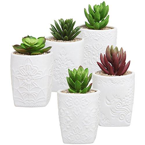 Set Of 5 Miniature White Unglazed Ceramic Engraved Art Design Pots  Succulent Plant Containers - Mygift&reg