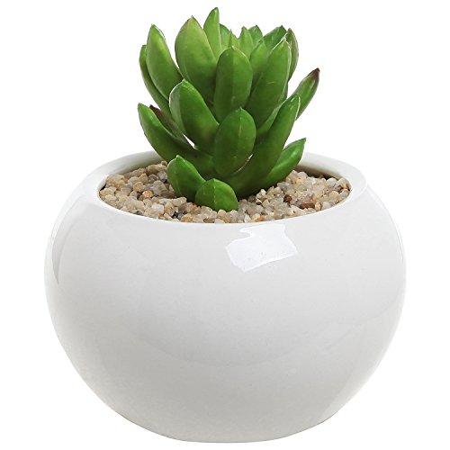 35 Inch Small Round Modern White Ceramic Succulent Planter Pot - Mygift&reg