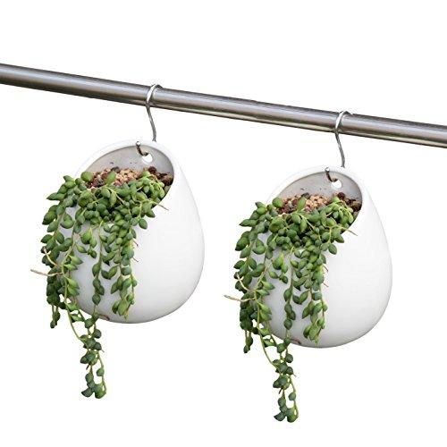 ROSE CREATE 2 Pcs 4 Inches White Bonsai Pots Mini Ceramic Succulent Plant Flower Pots with Hooks - Pack of 2