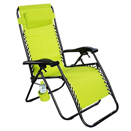 Giantex Folding Lounge Chairs Recliner Zero Gravity Outdoor Beach Patio Garden Grass Green