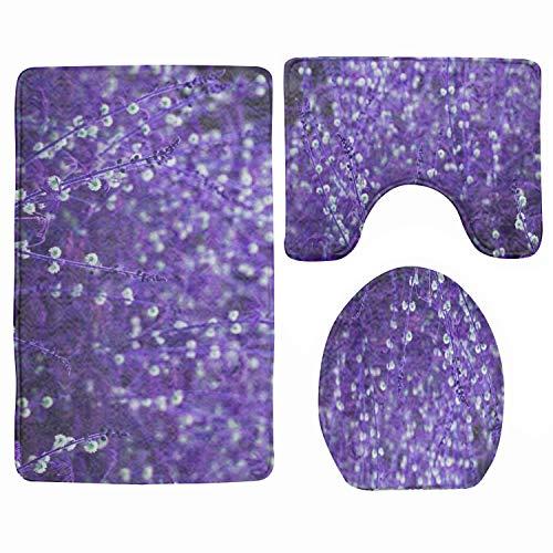 IBNEED Purple Grass Theme Bath MatBathroom Carpet RugNon-Slip 3 Piece Bathroom Mat Set