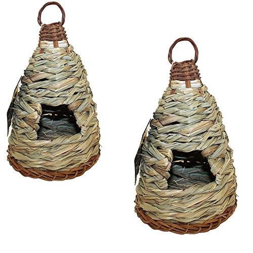 2 Lot Woven Natural Grass Wild Bird Roosting Pouch House Hut Nest Tree Birdhouse -WHG4832 TYG43498TY4-U519453