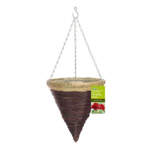 Gardman R266 Black Seagrass and Natural Grass Cone Hanging Basket 14 Diameter Model R266 Home Garden Store