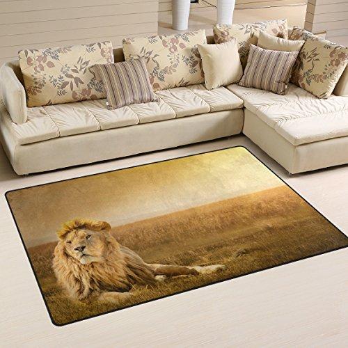 WOZO Brave Lion African Grass Area Rug Rugs Non-Slip Floor Mat Doormats Living Room Bedroom 31 x 20 inches