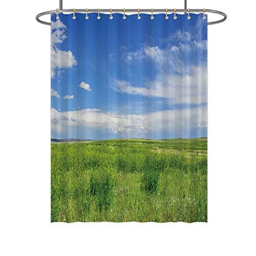 Hitecera Short Grass PrairieShower Curtain 173957 Bathroom Decor Set with Hooks 84 in by 72 in WxH