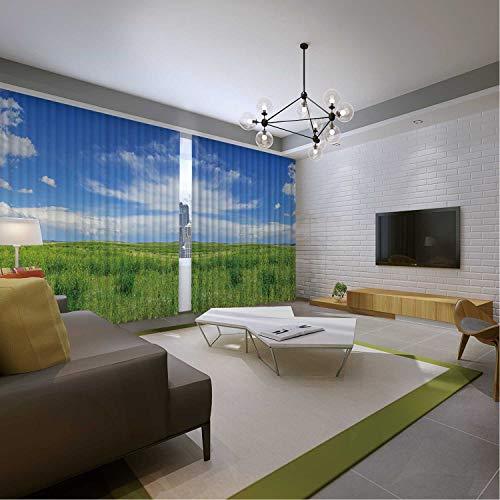 MOOCOM Short Grass Prairie Screen Curtain173957 for Bed Living Room Curtains108x72