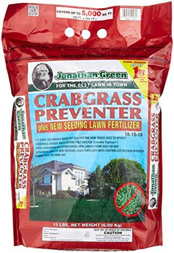 Jonathan Green 10465 Crabgrass Preventer Plus New Seeding Lawn Fertilizer 15 Lbs