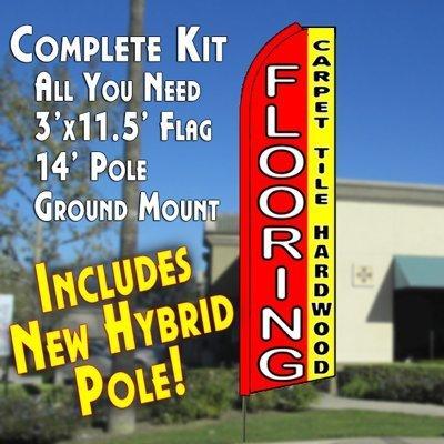 FLOORING CARPET TILE HARDWOOD RedYellow Flutter Feather Banner Flag Kit Flag Pole Ground Mt by Metropolitan Display