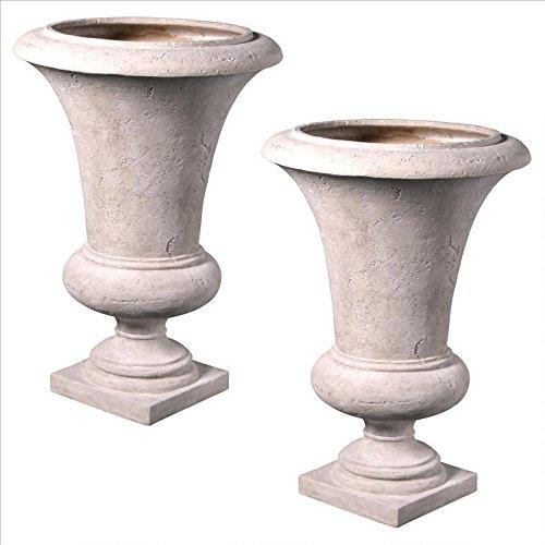 Design Toscano Viennese Architectural Garden Urn Large Set of 2 Ivory