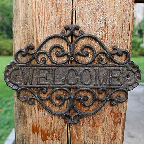 QERNTPEY-Home Welcome Sign Vintage Cast Iron Flower Shape Wall Mount Welcome Sign Wall Art Decorative for Indoor Outdoor Front Door Front Front Door Decor Color  Black Size  215x07x285cm