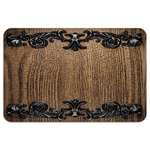 CHARMHOME Entrance Doormat Iron Antiques Adorn The Wooden Board IndoorOutdoor Doormat Rubber Shoes Scraper Non Slip Heavy Duty Front Entrance Door Mat Rug 24X35 Inch