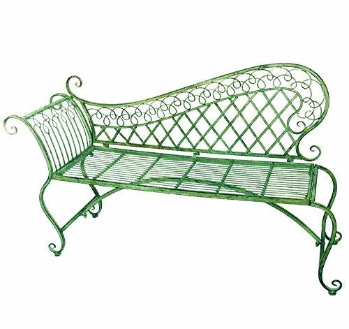 Garden Lounge Bench 35 High - Wrought Iron - Antique Green Rustic Finish