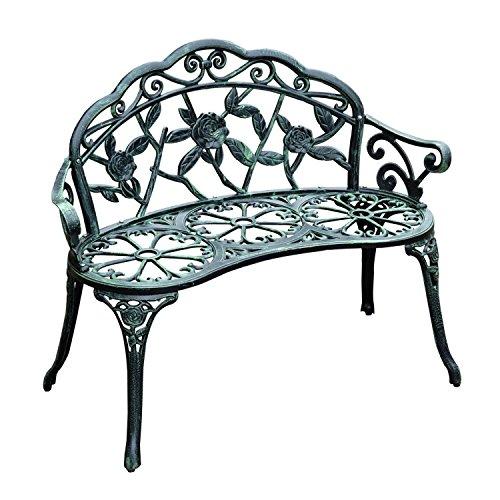 Outsunny Cast Iron Antique Rose Style Outdoor Patio Garden Park Bench 40