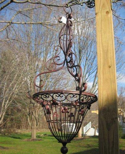 Victorian Design Hanging Basket Iron Antique Rust Finish