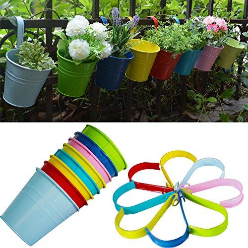 Flower Pots  Riogoo Hanging Flower Pots Garden Pots Balcony Planters Metal Bucket Flower Holders - Detachable