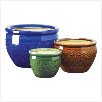 Giftsamp Decor Jewel Tone Flower Pot Trio Embossed Earthenware Planter