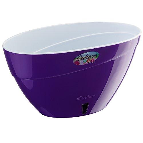 Santino Self Watering Planter CALIPSO Oval Shape L 94 Inch x H 51 Inch PurpleWhite Flower Pot