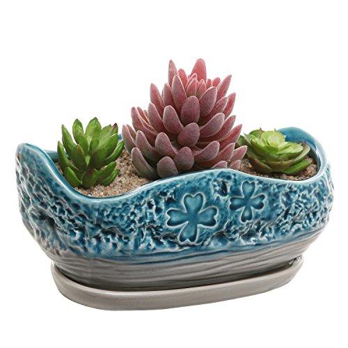 Turquoiseamp Gray Clover Design Ceramic Flower Plant Pot  Decorative Centerpiece Planter With Saucer