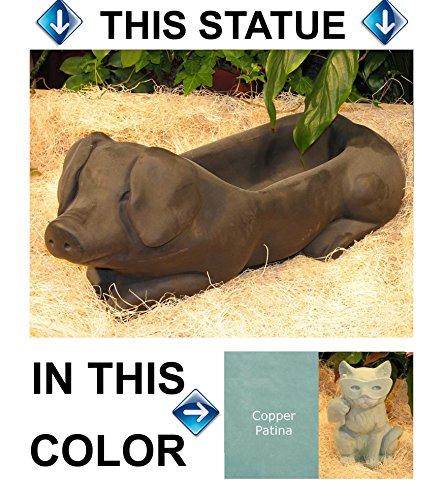 PIG Hog PLANTER 215 Blue-Green Stain CAST CEMENT FLOWER POT Stone OUTDOOR Indoor GARDEN Decor CAST Entry ACCENT
