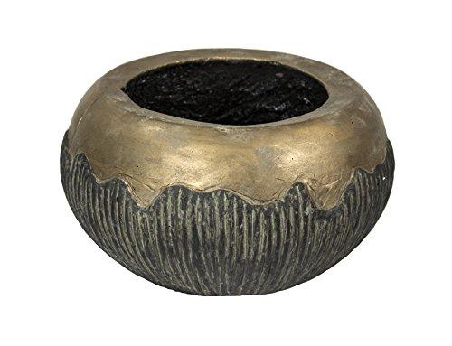 Sagebrook Home-Two Texture Cement Flower Pot GoldBrown 115 X 115 X 7 115 x 115 x 7