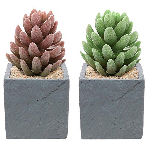 Set Of 2 Contemporary Square Natural Stone Design Decorative Cement Plant Flower Planter Pots Gray - Mygift&reg