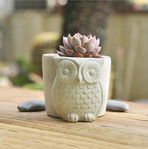 Sun-e Handmade White Unglazed Cement Owl Succulent Planter  Mini Bud Floweramp Herb Pot