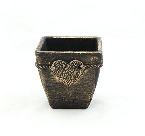 WGV 16 pcs Rustic Copper Square Tapered Ceramic Cement Pot with Heart 45