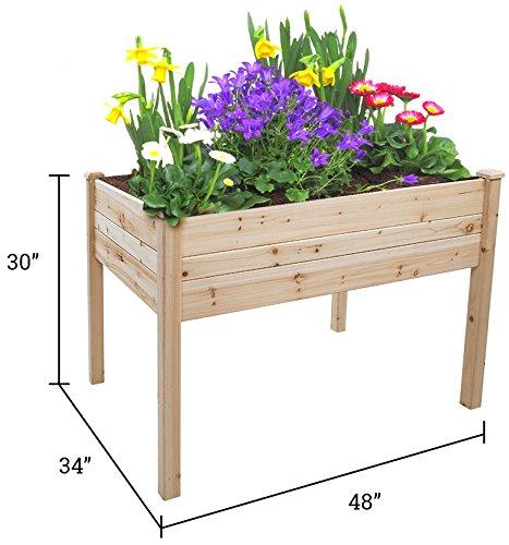 Trademark Innovations Tool Free Assembly Raised Fir Wood Garden Planter - 48L x 34W x 30H