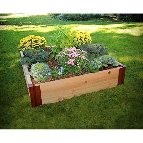Frame It All 1-inch Series Cedar Raised Garden Bed Kit - 4ft x 4ft x 12in
