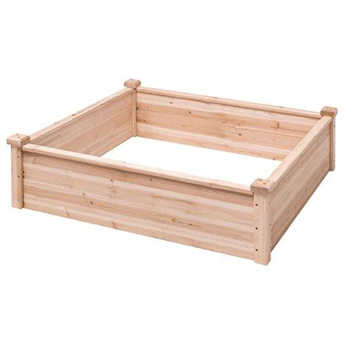 AK Energy 40x40 Wooden Garden Bed Vegetable Flower Raised Square Planter Kit Outdoor Garden 12 Wall