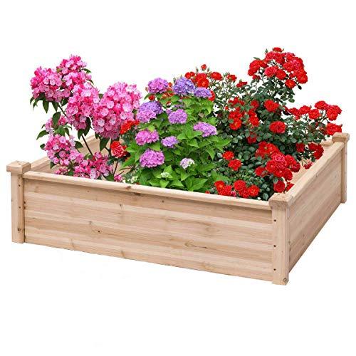 Garden PlantersWooden Garden Bed Vegetable Garden Flower Raised Square Planter Kit Outdoor