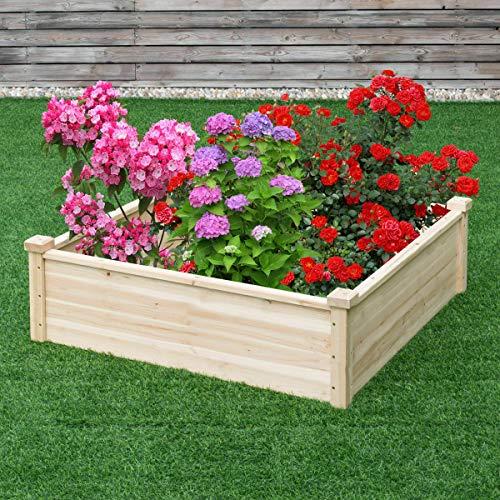 Wooden Garden Bed Vegetable Garden Flower Raised Square Planter Kit Outdoor
