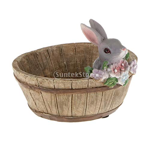 Diy Plant Pots - Home Yard Flower Succulent Bonsai Trough Box Gray Rabbit Plant Bed Diy Pot - Candy Box Bed Rabbit Yellow Pet Accessory Round Flower Ceramic